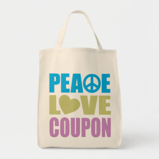 Peace Love Coupon Grocery Tote Bag