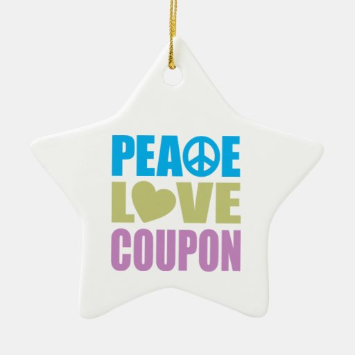 Peace Love Coupon Double-Sided Star Ceramic Christmas Ornament