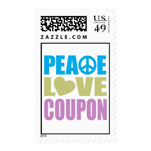 Peace Love Coupon Postage Stamp