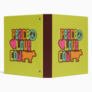 Peace Love Cow 3 Ring Binder