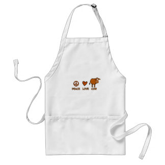 peace love cow adult apron