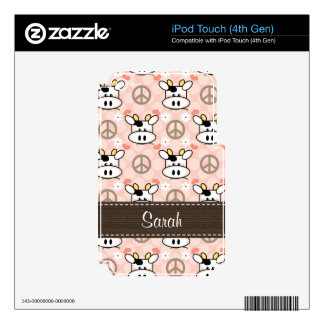 Peace Love Cow iPod Touch 4g 4th Gen Skin Decals For iPod Touch 4G