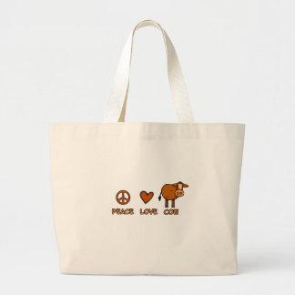 peace love cow jumbo tote bag