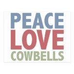 Peace Love Cowbells Postcard