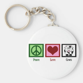 Peace Love Cows Basic Round Button Keychain
