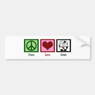 Peace Love Cows Bumper Sticker