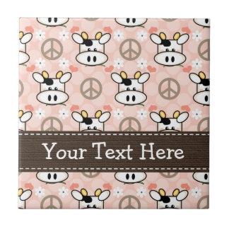 Peace Love Cows Ceramic Tile Trivet