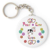 PEACE LOVE COWS KEYCHAIN