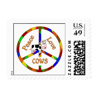 Peace Love Cows Postage