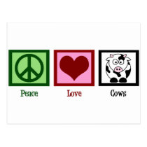 Peace Love Cows Postcard