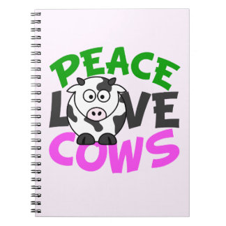 Peace Love Cows Spiral Notebook