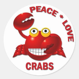 PEACE LOVE CRABS CLASSIC ROUND STICKER