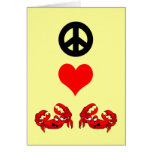 Peace love crabs greeting card