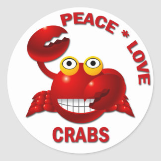 PEACE LOVE CRABS ROUND STICKERS