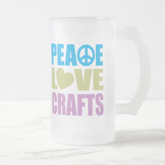 Peace Love Crafts Frosted Glass Beer Mug
