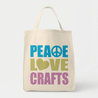 Peace Love Crafts Tote Bag