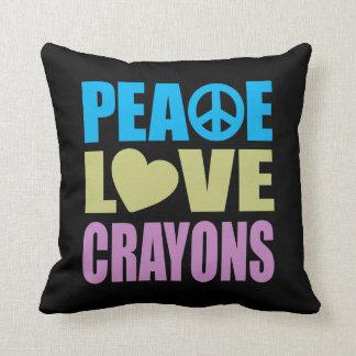 Peace Love Crayons Pillow