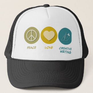 Peace Love Creative Writing Trucker Hat