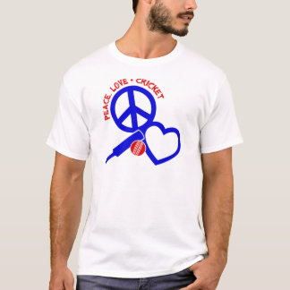 Peace-Love-Cricket, blue T-Shirt
