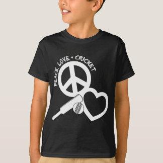 Peace-Love-Cricket, white T-Shirt