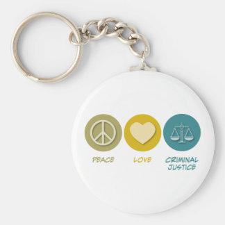 Peace Love Criminal Justice Keychain