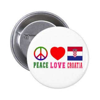 Peace Love Croatia Pinback Button