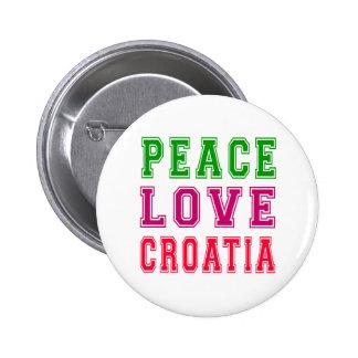 Peace Love Croatia Pinback Buttons