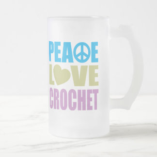 Peace Love Crochet Frosted Glass Beer Mug
