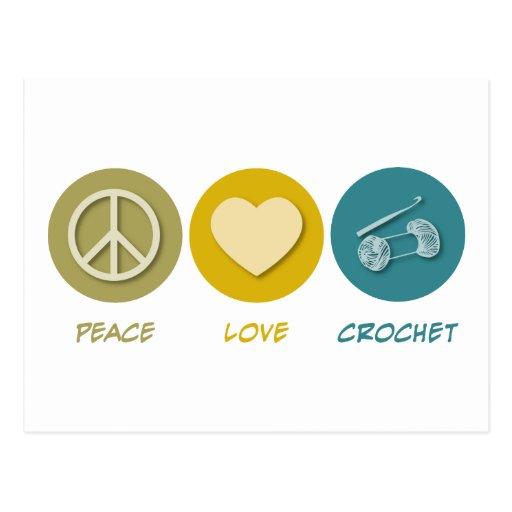 Peace Love Crochet Postcard