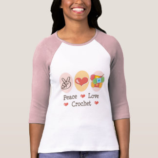 Peace Love Crochet Raglan T shirt
