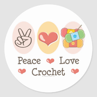 Peace Love Crochet Sticker