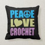 Peace Love Crochet Throw Pillows