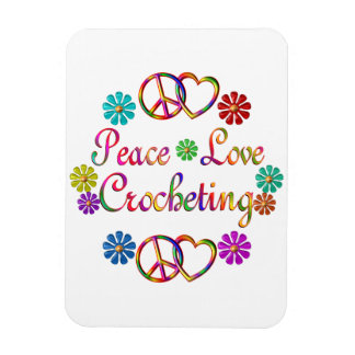 PEACE LOVE CROCHETING MAGNET