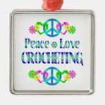 Peace Love Crocheting Ornaments