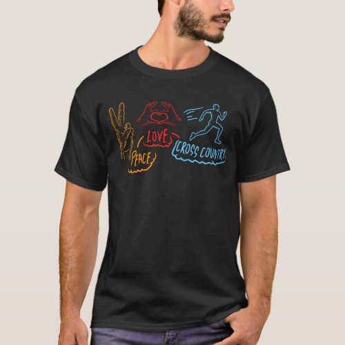 Peace Love Cross Country Running Runner CC XC T_Shirt
