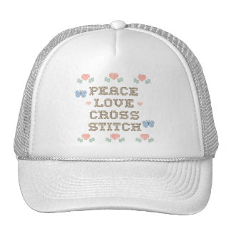 Peace Love Cross Stitch Hat