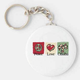 Peace. Love. Cthulhu. Basic Round Button Keychain
