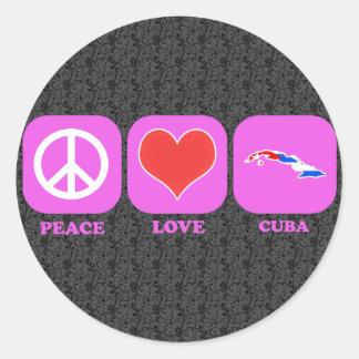 Peace Love Cuba Round Sticker
