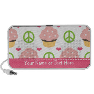 Peace Love Cupcake Doodle Speakers Personalized