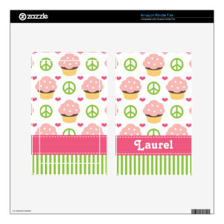 Peace Love Cupcake Kindle Fire Skin