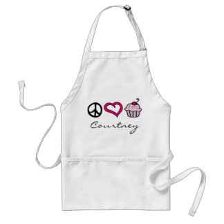 Peace, Love & Cupcakes! Add Your Name! Adult Apron