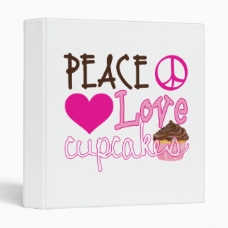 Peace, Love, Cupcakes 3 Ring Binder