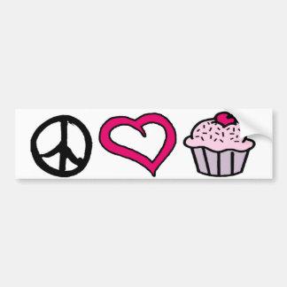 Peace, Love & Cupcakes! Bumper Sticker
