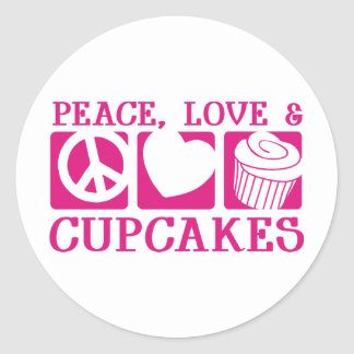 Peace Love Cupcakes Classic Round Sticker