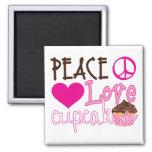 Peace, Love, Cupcakes Fridge Magnets