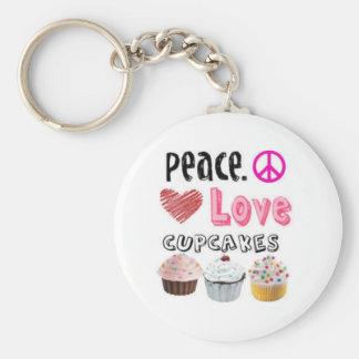 Peace. Love. Cupcakes. Keychain