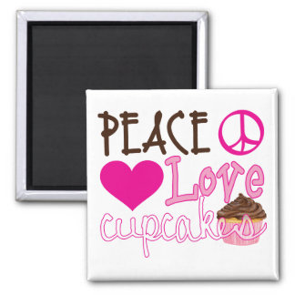 Peace, Love, Cupcakes 2 Inch Square Magnet