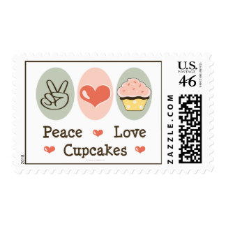 Peace Love Cupcakes Postage Stamps