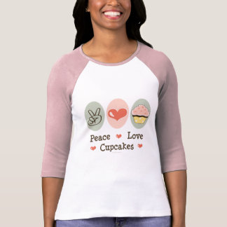 Peace Love Cupcakes Raglan T shirt