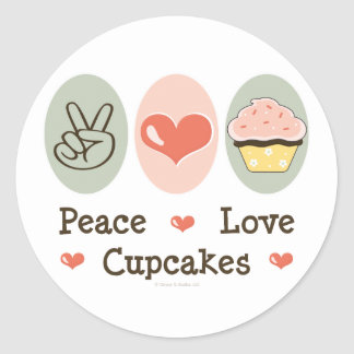 Peace Love Cupcakes Stickers